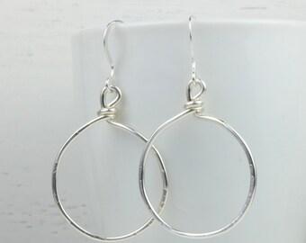 Hammered Sterling Silver Circle Hoop Earrings, Sterling Silver Hoop Earrings, Sterling Silver Earrings [#765]