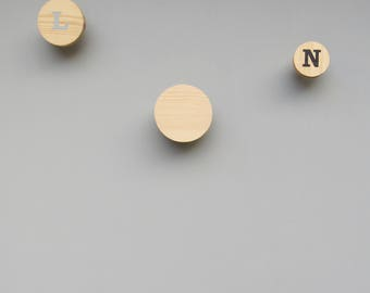wooden circle wall hook - pine circle hooks - hand painted decorative hooks - scandinavian wall hanger
