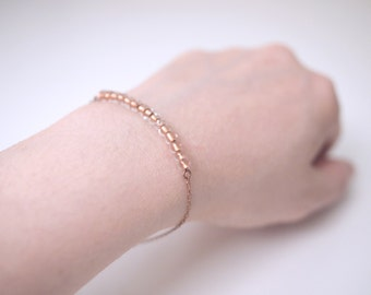 Dainty Delicate Clear/Copper Acrylic Beads With Copper Chain Bracelet
