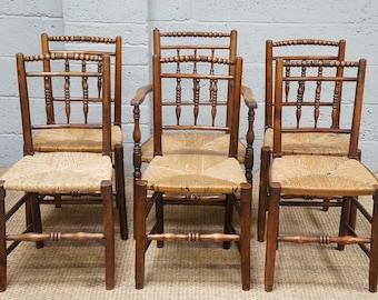 Vintage Set 6 Oak & Rush Seat Dining Chairs