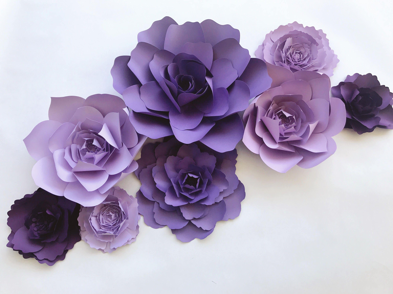 Purple Paper Flower Nursery Decor Girls Room Wall Art Purple