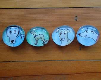 Handmade cute whippet magnets