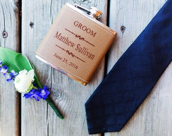 8 Leather Groomsman Flask Set ~With Free Engraving~ 6 oz Leather Wrapped Stainless Steel Flask