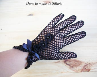 Black Lace Gloves crocheted and glass bead