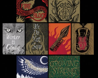 Set of Eight Game of Thrones-inspired House sigil prints drawn by Jon Turner- A3 art prints- FREE WORLDWIDE SHIPPING