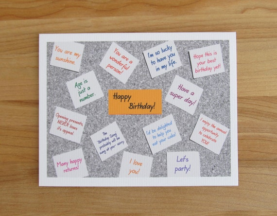 Birthday Cards Notes ~ Bulletin board birthday card sticky notes post it notes