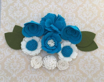 Handmade Wool Felt Flowers,Blue Bayou and White
