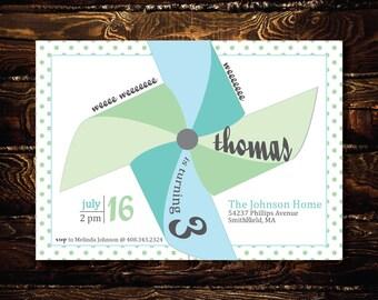 Printable  Blue and Green Pinwheel Birthday Invitation-Print Yourself-Digital Invite