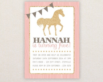Girls Birthday Party Invitations. Pink and Gold Pony. I Customize, You Print.