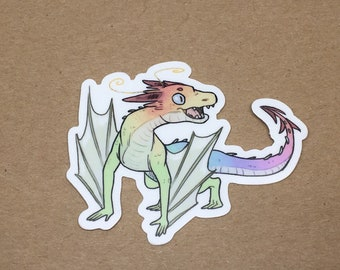 "Rainbow dragon cute wyvern fantasy creature monster 3"" vinyl sticker"