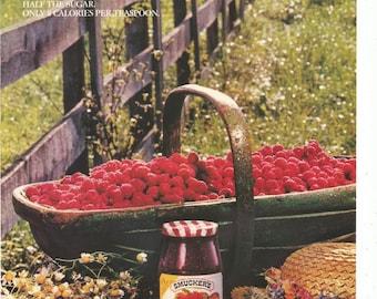 1989 Advertisement Smuckers 8x11 Low Sugar Red Raspberry Spread Jam Country Farm Berries Basket Kitchen Diner Restaurant Wall Art Decor