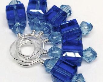 Stitch Markers - Sapphire and Aquamarine Swarovski Crystal