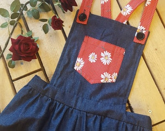 Vintage Style Dungarees With Red Floral Details