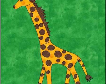 Giraffe Pattern - Giraffe Applique - Giraffe Quilt Block - Instant Download - Quilt Pattern - Quilt Block - Block Pattern - Baby Pattern -