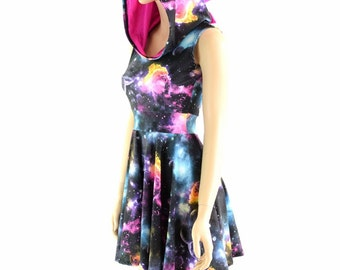 UV Glow Galaxy Dragon Spiked Skater Dress, Sleeveless with Neon Pink Holographic Spikes & Hood Liner 152789