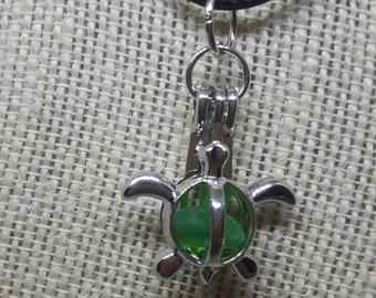 Green Sea Glass Caged Turtle Pendant