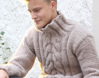 Knit sweater, Mens sweater, Wool Sweater, Mens pullover, Knitted sweater for mens, Knit mens pullover, Men's Hand Knitted Sweater Fisherman