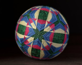Temari ball Japanese art Japanese embroidery Triangle Square Green colour Home decor Unique gift Traditional art Handmade ball Ornament