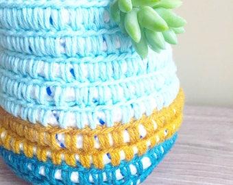 Crochet Basket- Aqua- Teal- Goldenrod - Cute planter- Home Decor- Planter Basket - Home and Garden- Bohemian Interior Design- Boho Decor-