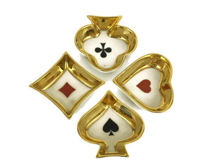 Limoges Porcelain Playing Cards Snack and Nut Dishes. Boxed Set of 4 Bowls. Vintage Barware and Card Player Gifts.