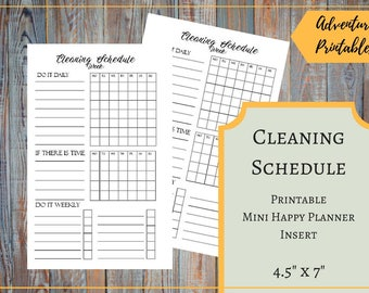 Cleaning Schedule Printable Insert for the Mini Happy Planner, Cleaning Plan, Cleaning Chores List, Daily Chores, Mambi Planner, Create 365