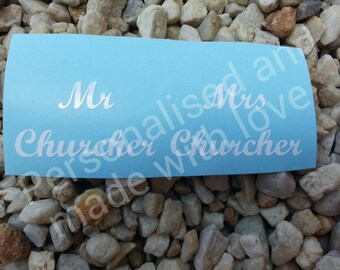 personalised diy vinyl decal/stickers for wine/champagne/toasting glasses for bride and groom mr and mrs