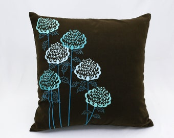 Teal Pillow Cover, Throw pillow cover, Embroidery Cushion. Floral Pillow, Decorative Pillow for Couch, Botanical Pillow,  Linen Pillow