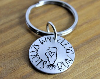 My Roots Run Deep Illinois Handstamped Keychain Alumni Home State Pride Long Distance Homegrown  Hometown Away from Home Gift