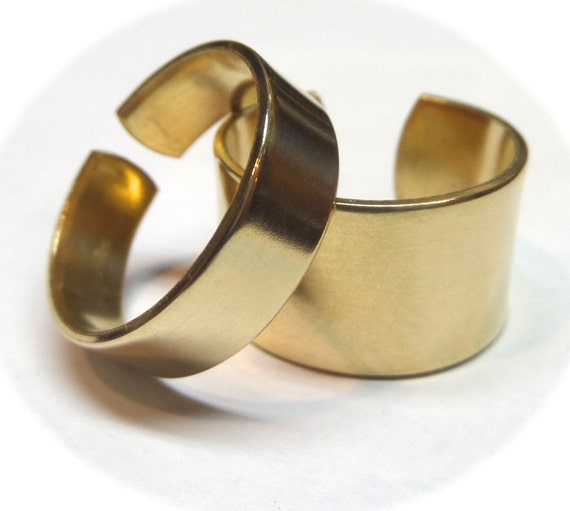 """15 Blanks 1/2"""" Wide Copper or Jeweler's BRASS Ring Blanks 18 Gauge Polished  Ring Blanks - 15 FLAT Ring Blanks"""