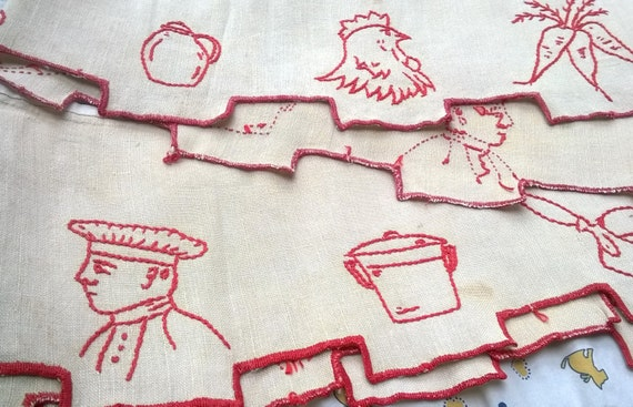 Victorian Café Curtain Linen French Country Kitchen Valance Shelf Edging Red Embroidered French Cook Home Decor #sophieladydeparis
