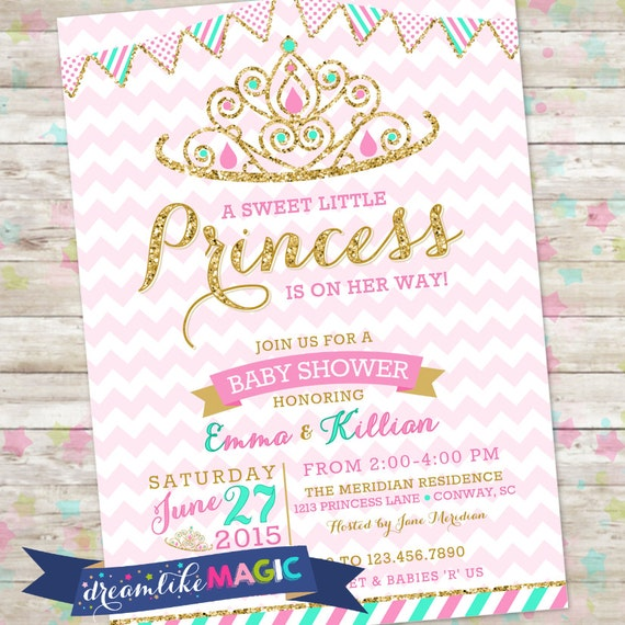 Princess baby shower invitation royal princess invite pink like this item filmwisefo Images