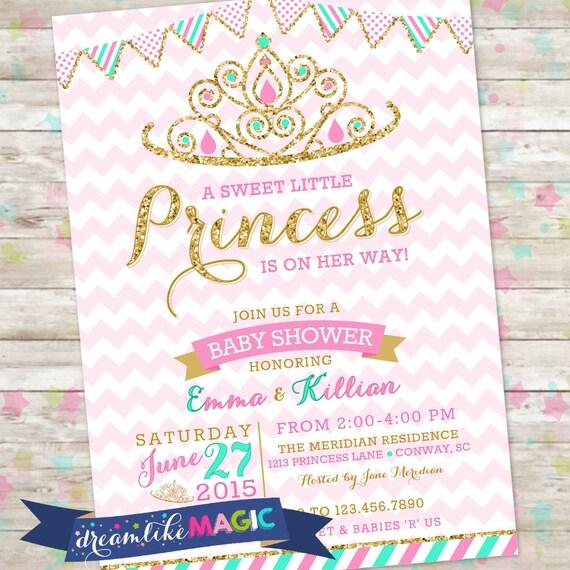 Princess Baby Shower Invitation Royal Princess Invite Pink