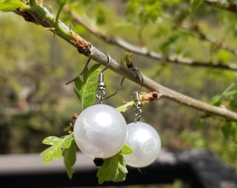 Simple White Bead Earrings