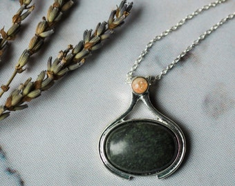 Komorebi Necklace - The Sunlight Through the Forest Trees - Natural Necklace, Silver, Wild Heart by Yugen, Green Serpentine, Orange Sunstone