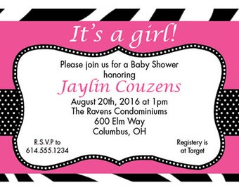 It's A Girl-Customized-Baby Shower Invitation-Digital Printable Download