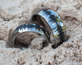 Soundwave Tungsten Rings Couples Matching Bands Waveform Jewelry Silver, Gold, or Rose Gold Tungsten Color Great Promise or Wedding Rings