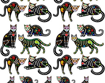 Sugar Skull Cats - Ceramic Decals- Enamel Decal - Fusible Decal - Glass Fusing Decal ~ Waterslide Decal - 47841