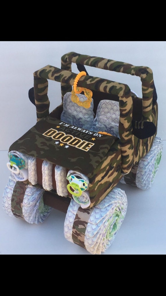 Ideal Diaper cake for boy camo baby shower military baby army IB12