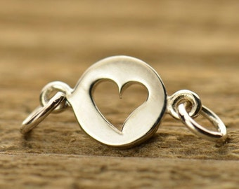 Tiny Sterling Silver Cutout Heart Link