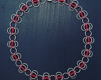 "Stainless steel and anodized aluminum necklace 16"" - 20"""