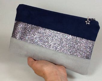 Glitter/suede pouch bag Navy Blue and Pearl gray, fabric glitter grey steel and flat star/bag charm