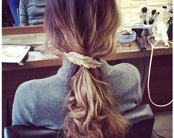 Gold / Silver Shiny Leaf Shape Metal Hair Clip Hair Accessories