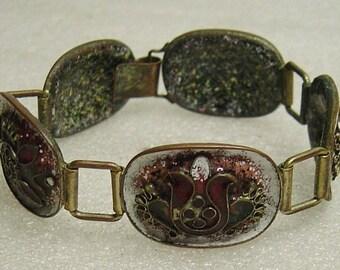 vintage 60s/70s enamelled brass bracelet
