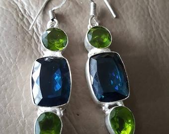 Blue Quartz and Lime Green  Quartz Earrings!