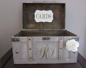 Vintage Wedding Card Box, Rustic Wedding Card Box, Large Vintage Trunk Wedding Box with Custom Wedding Monogram, Money Card Box, Card Holder