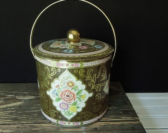 Embossed Floral Design Metal Tin Storage Box - Cookie Jar, Candy, Ice Bucket Storage - Made by Daher Vintage Container