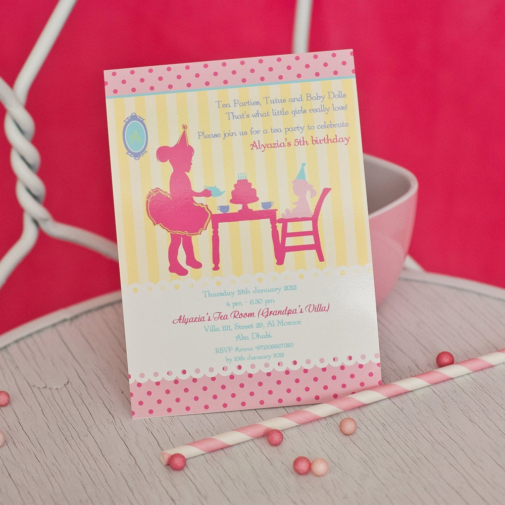 Colorful Tea Party Birthday Invitations Model - Resume Ideas ...