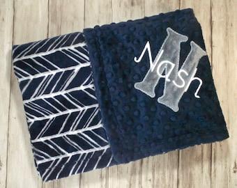 Monogrammed Baby Blanket - Navy, Gray and White Herringbone Minky blanket, Personalized Custom blanket with name, Birth Stats, Trendy