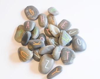 Alphabet letter stones, Sensory letter learning game