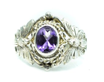 Beautiful Sterling Silver Amethyst Butterfly Filigree Ring 16mm Size 6